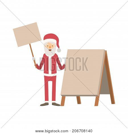santa claus caricature full body holding a wooden poster and empty advertising with hat and costume on colorful silhouette vector illustration