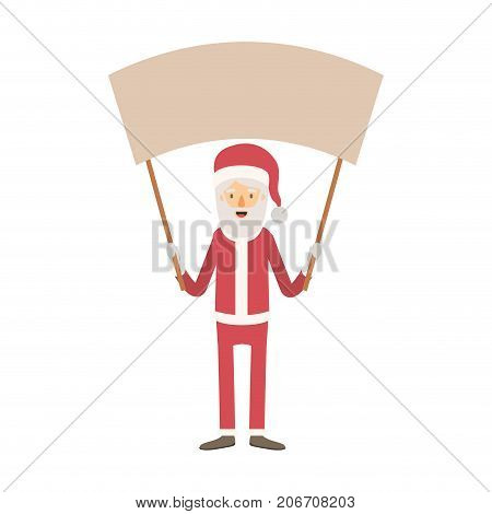 santa claus caricature full body holding a empty poster advertising with hat and costume on colorful silhouette vector illustration