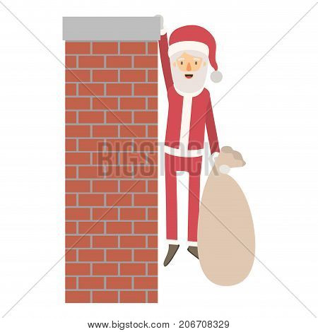 santa claus caricature full body hanging of chimney brick fireplace and holding a gift bag with hat and costume on colorful silhouette vector illustration