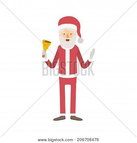 santa claus caricature full body holding a bell with hat and costume on colorful silhouette vector illustration