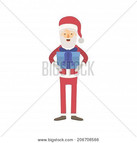 santa claus caricature full body with gift box hat and costume on colorful silhouette vector illustration