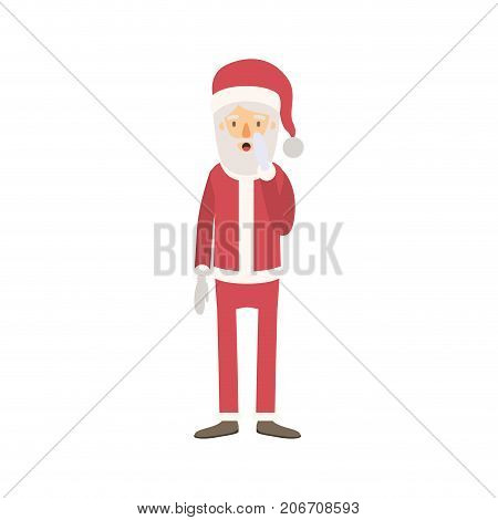 santa claus caricature full body with surprised expression hat and costume on colorful silhouette vector illustration