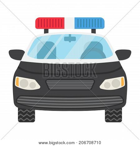 Police car flat icon, transport and automobile, cop sign vector graphics, a colorful solid pattern on a white background, eps 10.