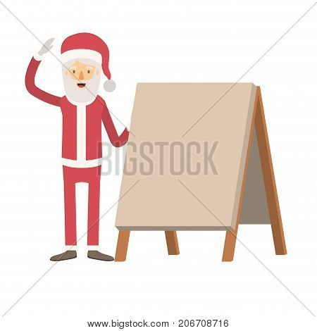 santa claus caricature full body with a placard and hat with christmas costume on colorful silhouette vector illustration