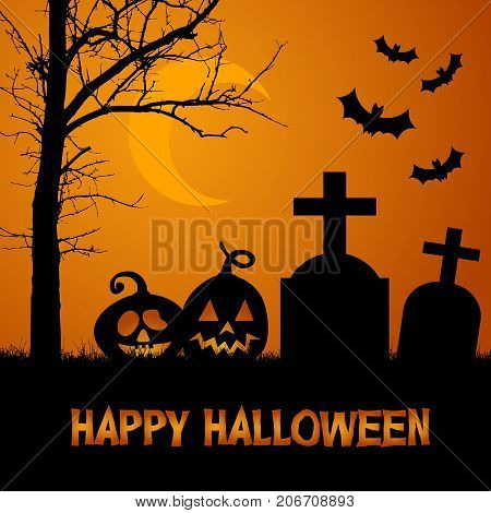 Vector illustration of a cemetery with a tree tombstone and pumpkins under an orange scary sky with moon and bats - Halloween card