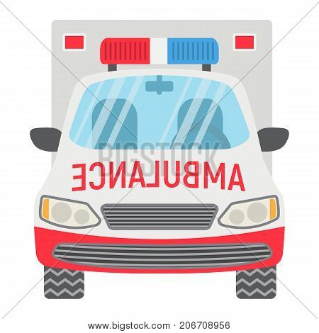 Ambulance flat icon, transport and vehicle, emergency sign vector graphics, a colorful solid pattern on a white background, eps 10.