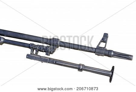 PK Machine barrel gun Kalashnikov on white background