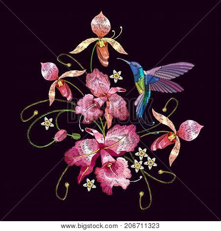 Humming bird and orchid exotic tropical flowers. Template for clothes embroideries t-shirt design. Beautiful classical embroidery humming-bird orchids flowers