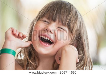 Laughing Blond Caucasian Little Girl, Close-up