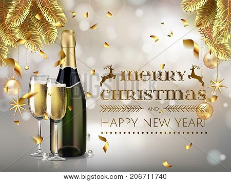 merry christmas and happy new year champagne bottle with glass i