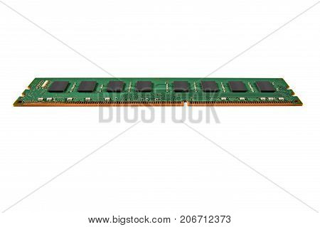 Stick of computer random access memory isolated of white background
