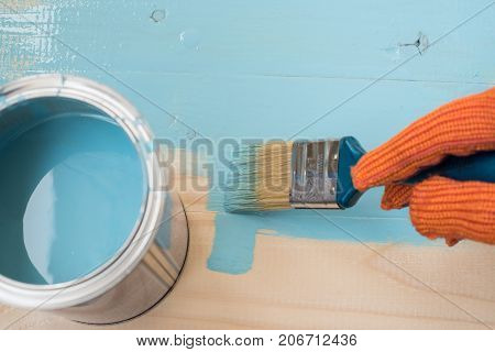 worker paints board blue paint. Blue paint and brush on wooden background. worker paints board