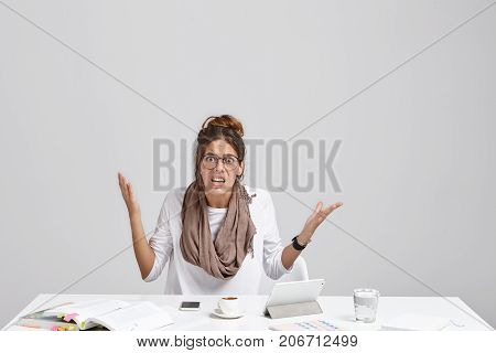 Too Much Workload And File Error. Stylish Female Employee Having Bad Day At Work, Sitting At Desk Wi