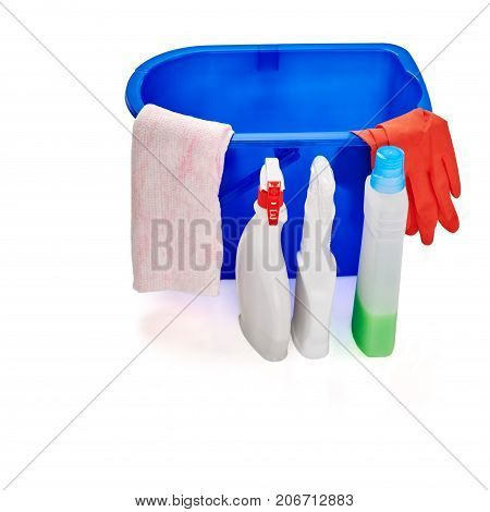 Variety of house cleaning disinfectant products on white background