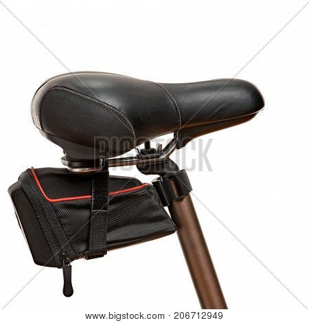 Close up of black leather saddle of modern bicycle with bag