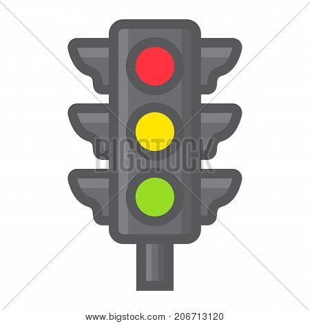 Traffic light filled outline icon, stoplight and navigation, regulation sign vector graphics, a colorful line pattern on a white background, eps 10.