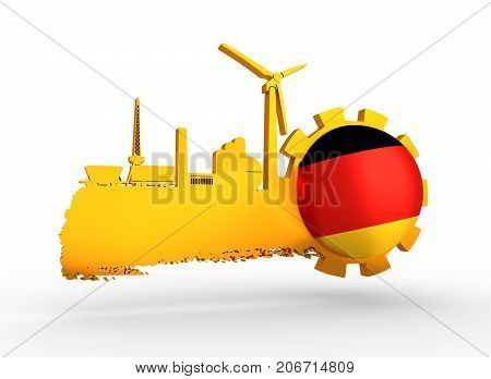 Energy and Power icons set and grunge brush stroke. Energy generation and heavy industry relative image. Agriculture and transportation. Flag of the Germany. 3D rendering