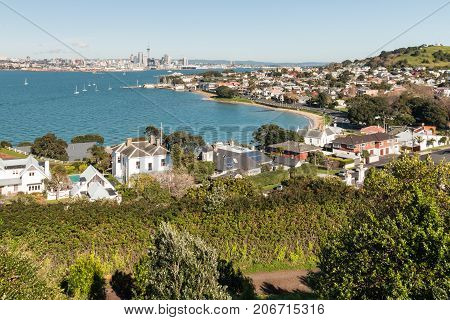 aerial view of Devonport suburb and Auckland CBD, New Zealand
