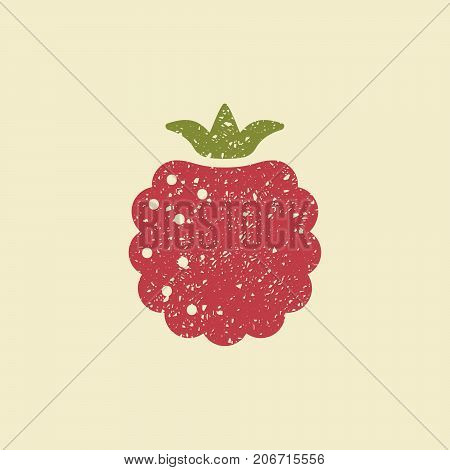 Icon of a raspberry. Stylized drawing with colored pencils