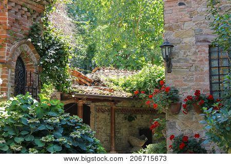 Courtyard of ancient castle in Grazzano Visconti Italy