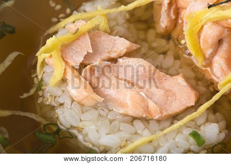 Rice with salmon and omelette in sake bouillon. Traditional japanese cuisine. Macro. Photo can be used as a whole background.