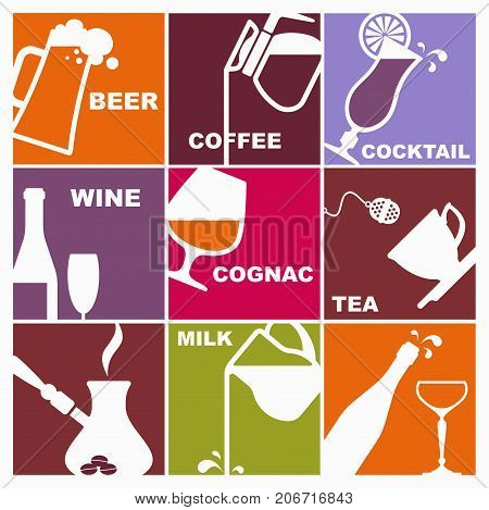 Symbols of different drinks on square cards