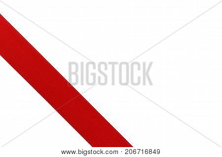 Red Ribbon Template For Gift Isolated On White Background