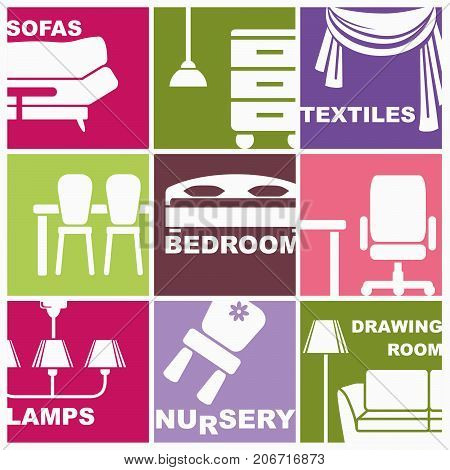 Icons of furniture and accessories for an interior