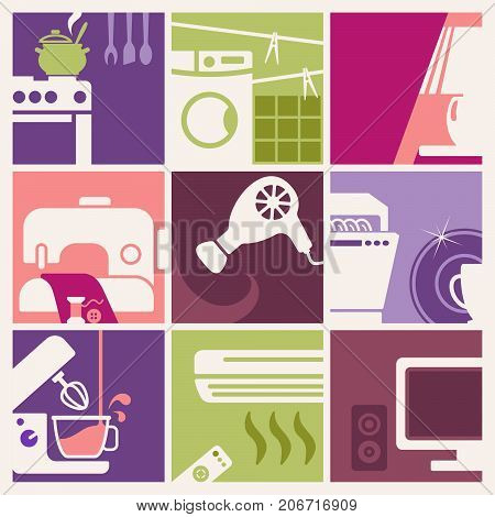 Vector illustration in retro-style - set of home appliances