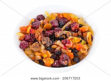 Mix of dried fruits.   Isolated on a white background.