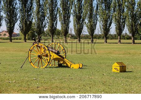 Villa Sorra Italy - July 17 2016: Old style gun on Napoleonica event. Costumed reconstruction of historical events. Castelfranco Emilia Modena