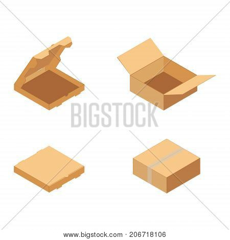 Carton packaging box. Isometric carton packaging box set collection vector illustration. Set closed and open cardboard boxes on white background.