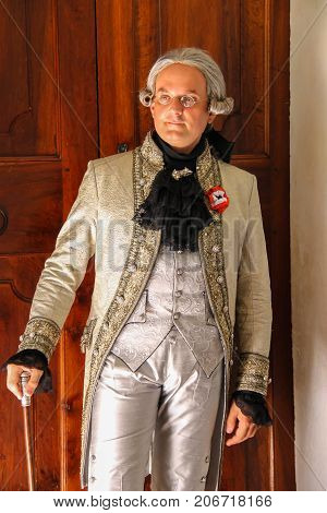 Villa Sorra Italy - July 17 2016: Man in historical costume on Napoleonica event. Costumed reconstruction of historical events. Castelfranco Emilia Modena