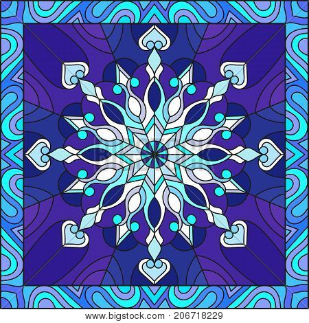 Illustration in stained glass style with snowflake in blue colors in a frame