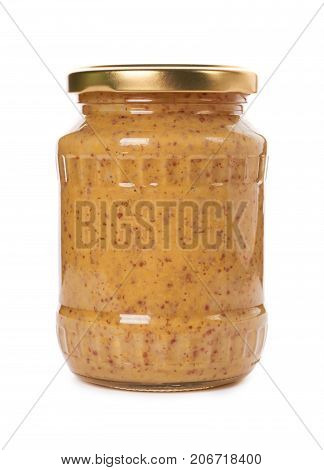 Home Made Mustard In Glass Bottle Isolated On White Background