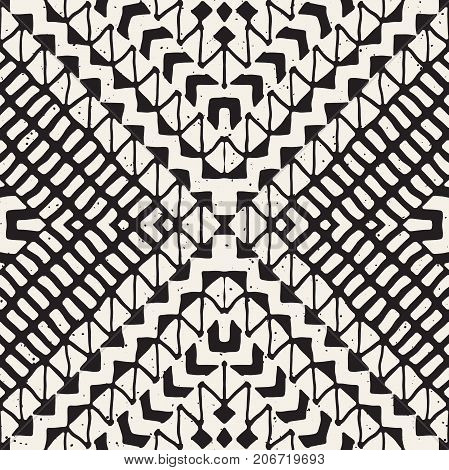 Hand drawn painted seamless pattern. Vector tribal design background. Ethnic motif. Geometric ethnic stripe lines illustration. Black and white colors. For art prints, textile, wallpaper, wrapping paper.