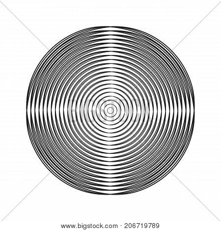 round shape from concentric halftone circles. monochrome vector