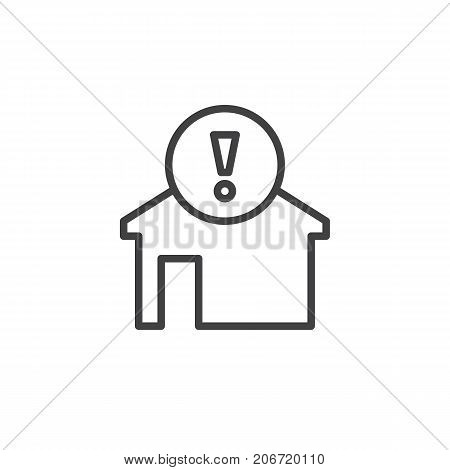 Home alert line icon, outline vector sign, linear style pictogram isolated on white. House with exclamation mark symbol, logo illustration. Editable stroke