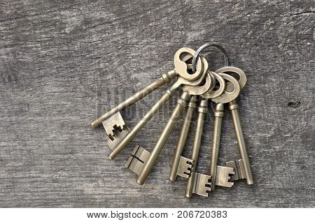 old keys in a ring on wooden background