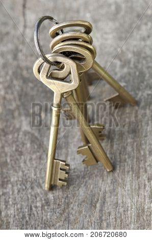 golden old key on a ring on wooden background