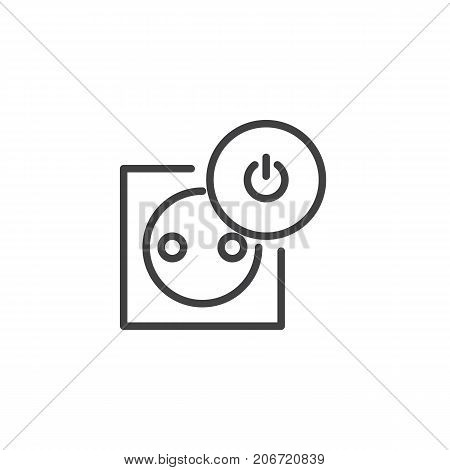 Socket off line icon, outline vector sign, linear style pictogram isolated on white. Symbol, logo illustration. Editable stroke
