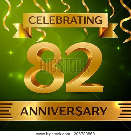 Realistic Eighty two Years Anniversary Celebration Design. Confetti and gold ribbon on green background. Colorful Vector template elements for your birthday party. Anniversary ribbon