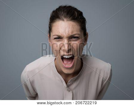 Aggressive Woman Yelling At Camera