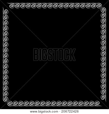 Frame white. Monochrome framework isolated on black background. Decoration concept. Modern art scoreboard. Border from waves. Decoration banner rim. Stock vector illustration