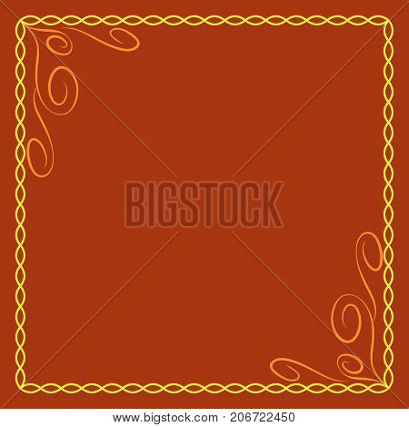 Frame yellow. Colorful framework isolated on orange background. Decoration chain concept. Modern art scoreboard. Border from ovals and curves. Decoration banner rim. Stock vector illustration