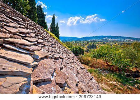 Dalmatian Stone Roof Detail And Skrip Village Landscape View