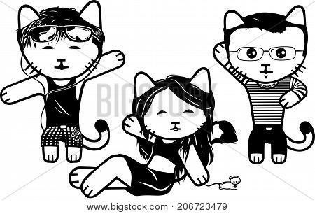 Vector modern fashionable dressed cats. Part 5.