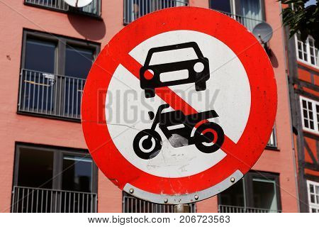 No power driven vehicles allowed road sign.