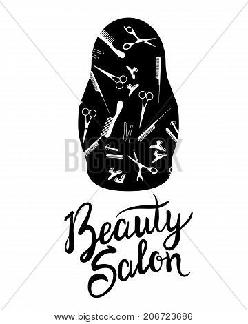 Vector illustration of a black silhouette Russian doll for beauty salon