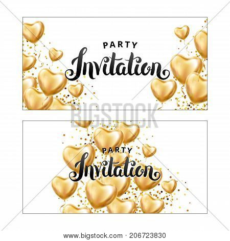 Gold Heart balloon Invitation. Gold Heart balloon on background. Party decoration, event design, balloons for wedding, invitation, birthday, anniversary, celebration. Greeting card, you are invited